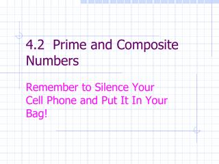 4.2  Prime and Composite Numbers