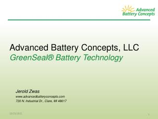 Advanced Battery Concepts, LLC GreenSeal® Battery Technology