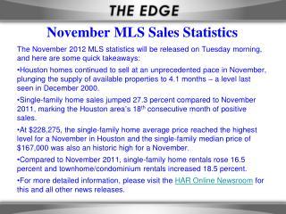 November MLS Sales Statistics