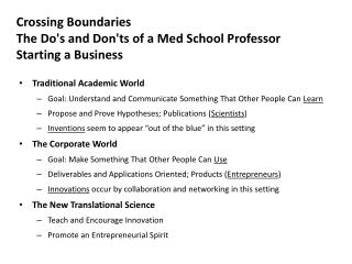 Crossing Boundaries  The  Do's and Don'ts of a Med School Professor Starting a  Business