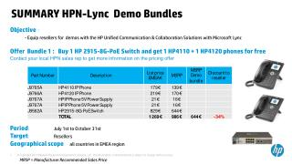 SUMMARY  HPN- Lync   Demo Bundles