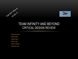 Team Infinity and Beyond Critical Design Review