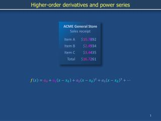 Higher-order derivatives and power series
