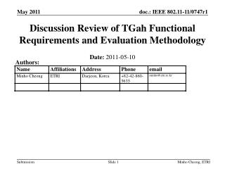 Discussion Review of  TGah  Functional Requirements and Evaluation Methodology
