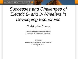 Successes and Challenges of Electric 2- and 3-Wheelers in Developing Economies