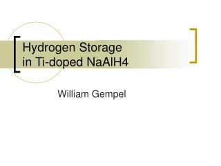 hydrogen storage in ti-doped naalh4
