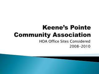 Keene's Pointe Community Association