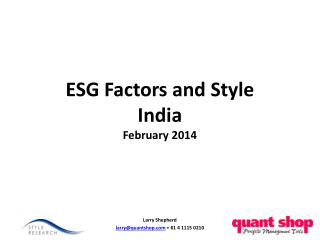 ESG Factors and Style India February 2014
