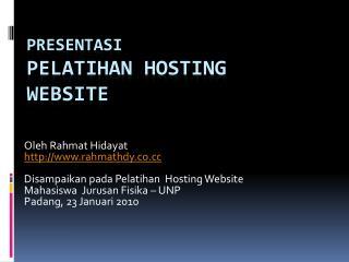 PRESENTASI PELATIHAN Hosting WEBSITE