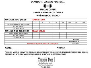 PLYMOUTH WILDCAT FOOTBALL