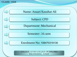 Name: Ansari Kaushar Ali