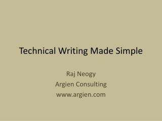 Technical Writing Made Simple
