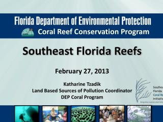 Southeast Florida Reefs February 27, 2013 Katharine Tzadik Land Based Sources of Pollution Coordinator DEP Coral Progra