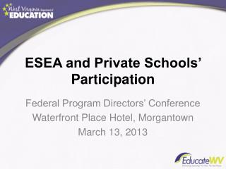 ESEA and Private Schools' Participation