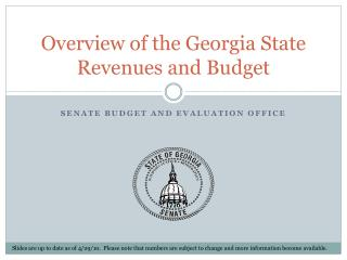 Overview of the Georgia State Revenues and Budget