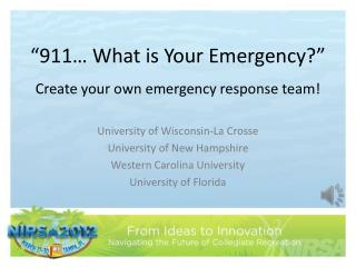 """""""911… What is Your Emergency?"""""""