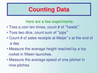 Counting Data