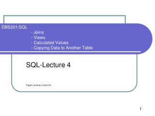 SQL-Lecture  4 Pages Lectures Lecture12