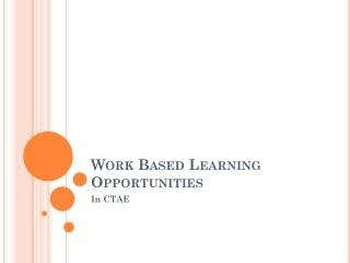 Work Based Learning Opportunities