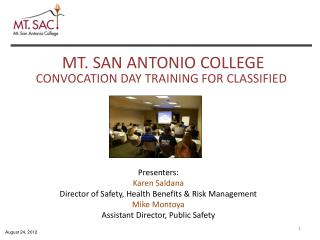 CONVOCATION  DAY TRAINING FOR  CLASSIFIED
