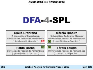 Dataflow  Analysis  for Software Product Lines