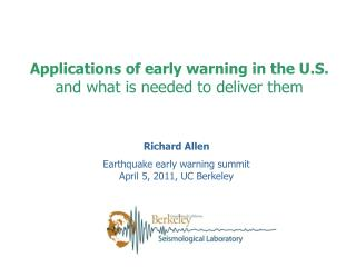 Applications of early warning in the U.S. and what is needed to deliver them