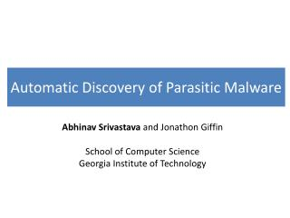 Automatic Discovery of Parasitic Malware