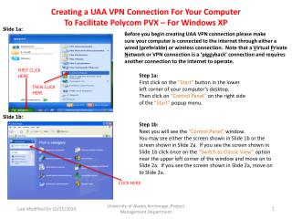 Creating a UAA VPN Connection For Your Computer  To Facilitate Polycom PVX – For Windows XP