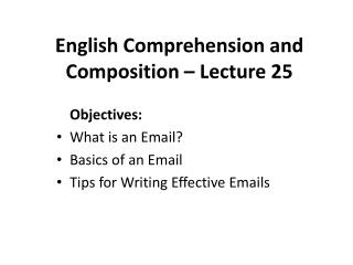 English Comprehension and Composition – Lecture 25