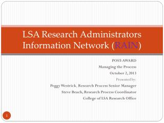 LSA Research Administrators Information Network ( RAIN )