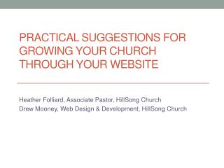 Practical suggestions for growing your church through your website