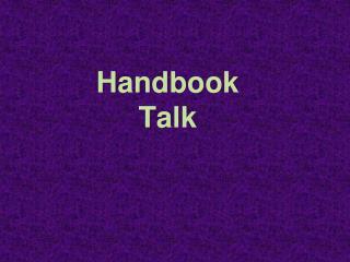 Handbook Talk