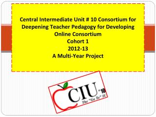 Central  Intermediate Unit # 10 Consortium for Deepening Teacher Pedagogy for Developing Online Consortium  Cohort 1 20