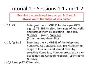 Tutorial 1 – Sessions 1.1 and 1.2