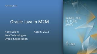 Oracle Java In  M2M