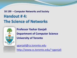Handout # 4: The Science of Networks