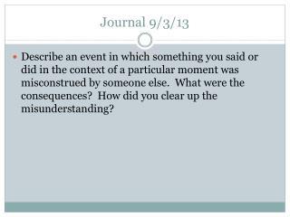 Journal 9/3/13