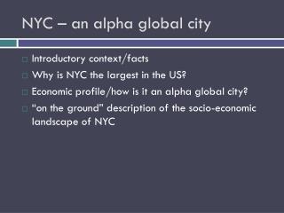 NYC � an alpha global city