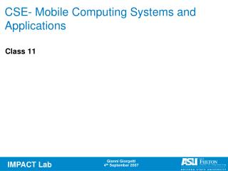 CSE- Mobile Computing Systems and Applications
