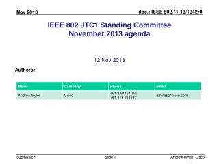 IEEE 802 JTC1 Standing Committee November 2013  agenda