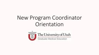 New Program Coordinator Orientation