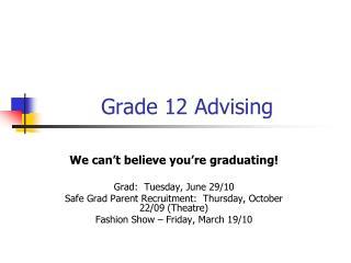 Grade 12 Advising