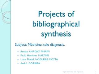 Projects  of  bibliographical synthesis