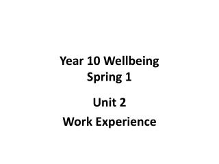 Year 10 Wellbeing Spring 1