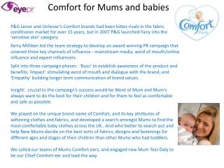 Comfort for Mums and babies