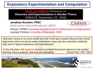 Exploratory Experimentation and Computation
