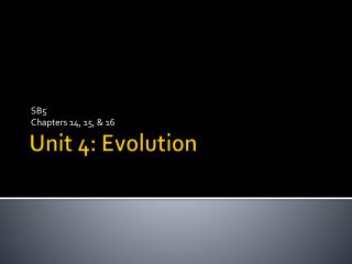 Unit 4: Evolution