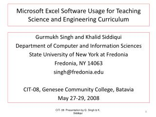 Microsoft Excel Software Usage for Teaching Science and ...