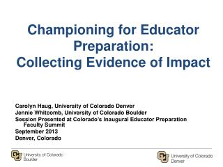 Championing for Educator Preparation:  Collecting Evidence of Impact