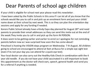 Dear Parents of school age children